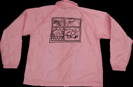 SK8RATS Pizza Rat Windbreaker Jacket Pink Back