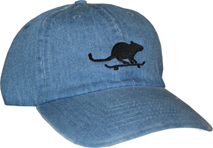 SK8RATS Rat on Board Hat Denim Front